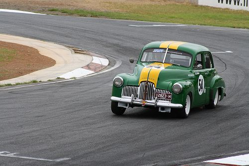1958 .. The  Australian Bathurst 500, Leo Geoghegan ,( a Liverpool taxi operator) driving a Holden 48 similar to this , (rumour has it , it was an ex Liverpool cab ) , was the man to beat in touring car races .   v@e.