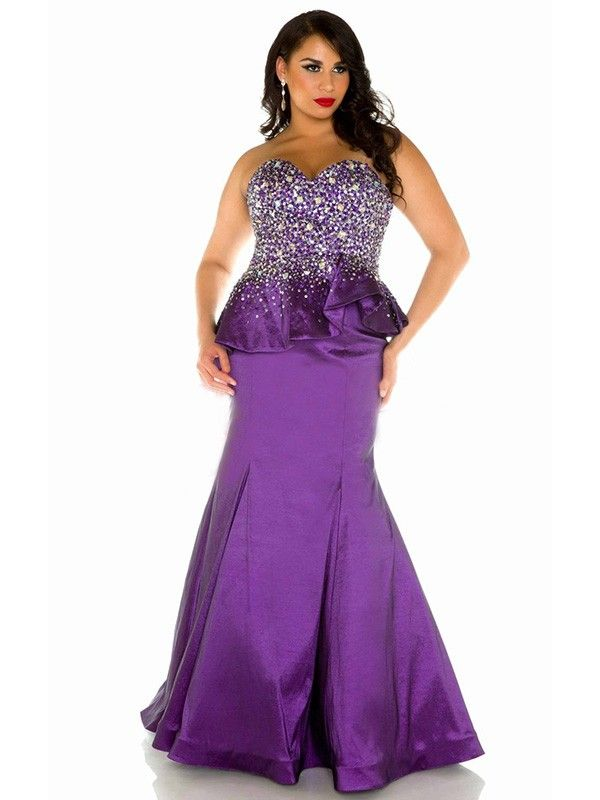 >> Click to Buy << 2016 Purple Mermaid Sweetheart Satin Plus Size Prom Dresses Full Figure Women Sparkly Beaded Prom Gowns vestidos de festa  #Affiliate