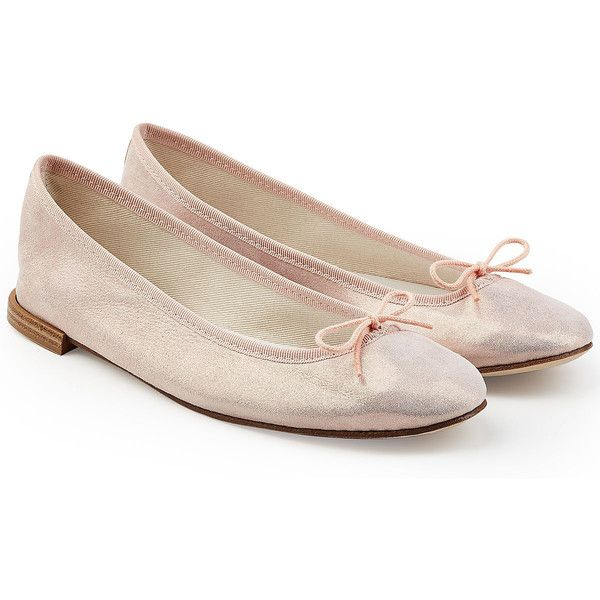 Repetto Cendrillon Metallic Ballerinas (25990 DZD) ❤ liked on Polyvore featuring shoes, flats, pink, ballerina flats, ballet shoes, bow ballet flats, leather flats and ballet flat shoes