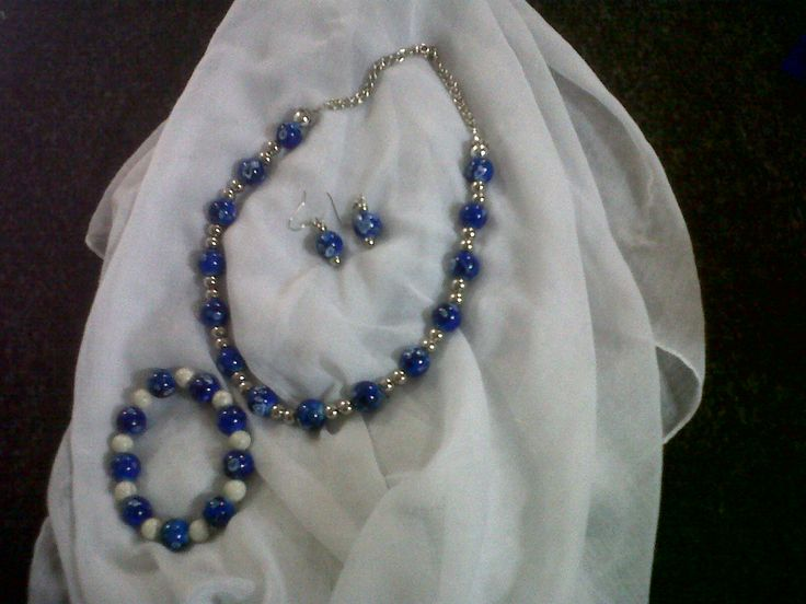 Blue Silver & White Necklace, bracelet, earing set