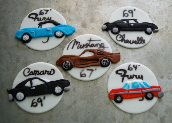 Classic Cars Cupcake Toppers by TutuCuteCakes on Etsy, $28.00