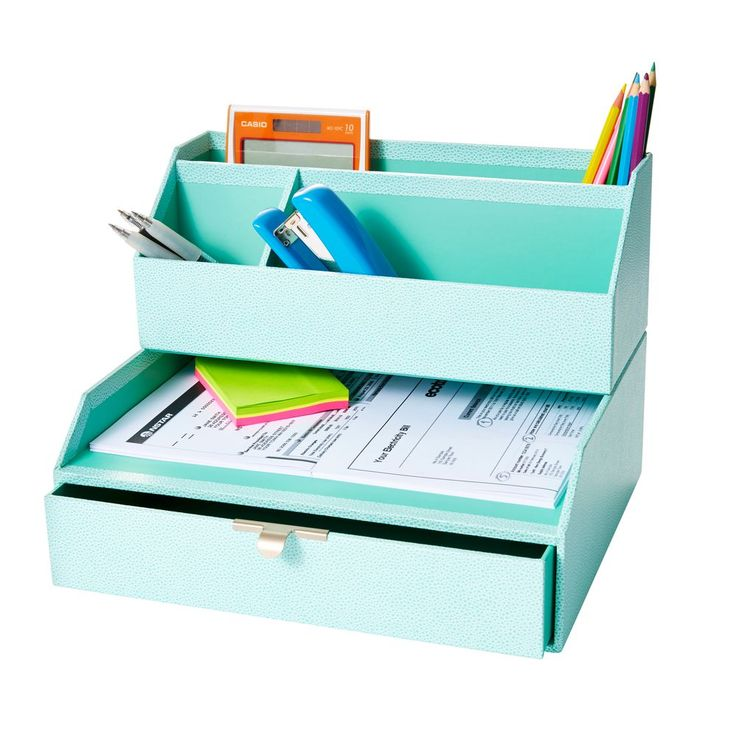 Martha Stewart Drawer with Inbox Blue   Officeworks