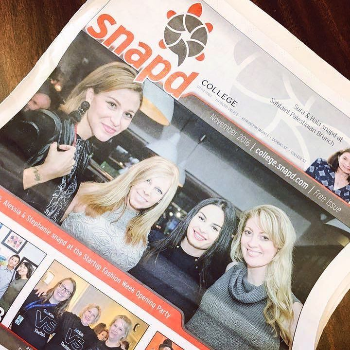 #TheFutureIsFemale  Electric runway founder @girlabouttoronto on the cover of Snapped avec @jodigoodfellow @thealessiam & @wethautetech  At @startupfashionweek opening party.