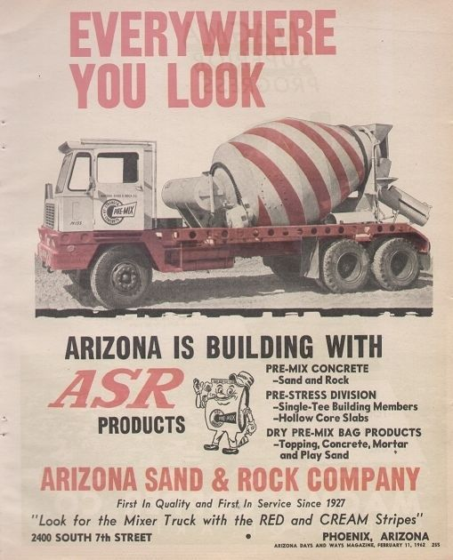 Arizona Sand & Rock Company 1962 Vintage AZ Ad, Barber Pole Cement Mixer Truck