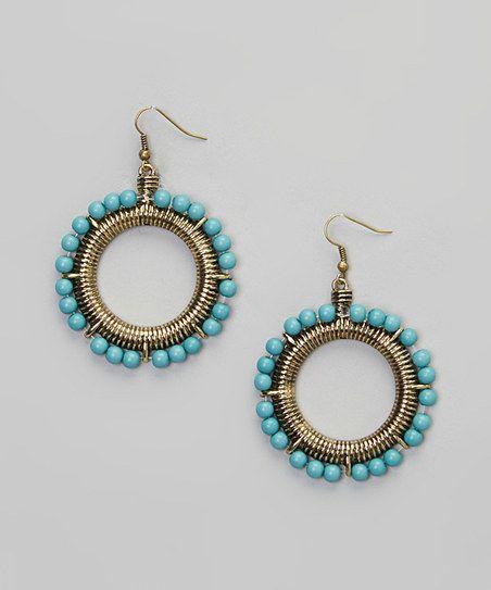 Turquoise & Gold Drop Hoop Earrings