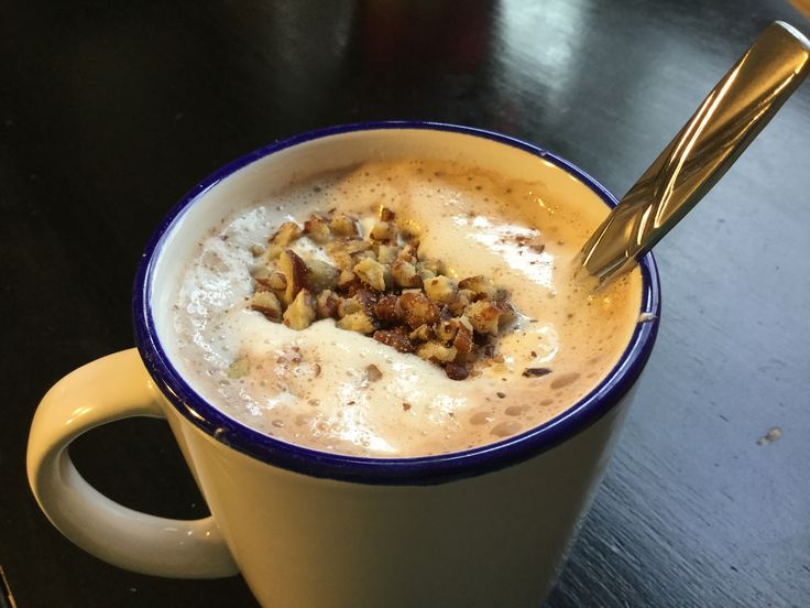 - Hot chocolate  - whipped cream            - sugar           - heavy whipping cream - Chopped almonds and/or walnuts