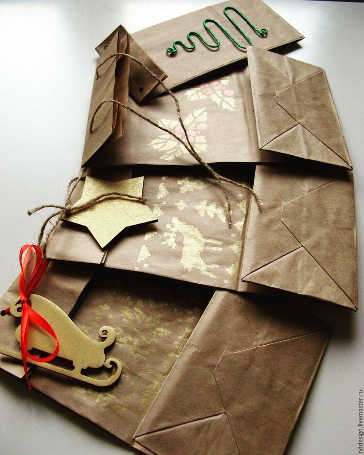 """Купить Праздничные подарочные пакеты """"Зимняя сказка"""" - золотой, крафт пакет, крафт-пакеты"""