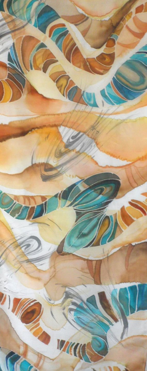 Handmade Fine Silk Scarf. Very light, soft and delicate material (pongeе 5 pure silk material). This piece of art is named Turquoise paths and is one of a kind. Size: 45 x 180 cm. (17 x 70 inch)