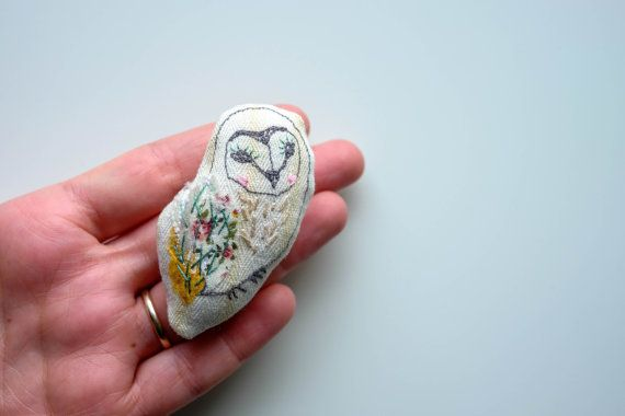 Little Barn Owl Brooch Embroidered Lapel by GraceGatleyTextiles