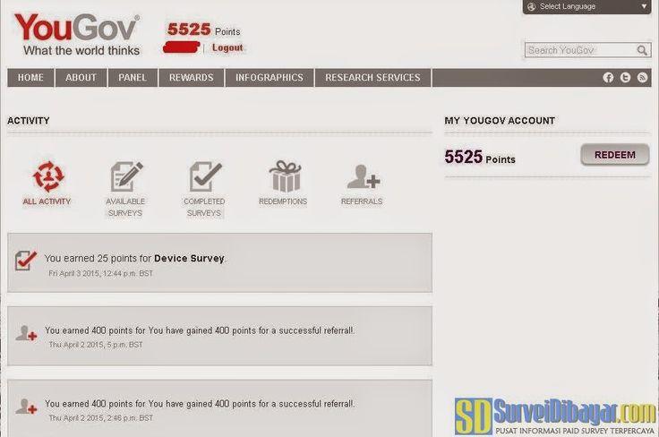 Langkah penukaran poin paid survey YouGov | Survei Dibayar