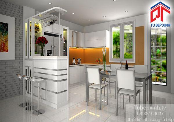 Tu bep - tủ bếp acrylic TB009G Tủ bếp được thiết kế theo hình chữ L kèm theo quầy bar kết hợp tủ rượu trang trí cực bắt mắt giúp không gian bếp thêm hiện đại, sang trọng và thể hiện phong cách mà chủ nhà hướng đến.