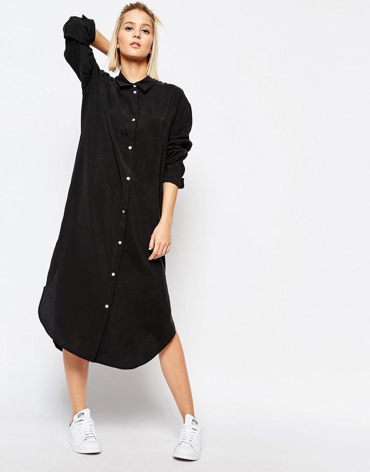 Image 4 of Weekday Long Cupro Shirt Dress