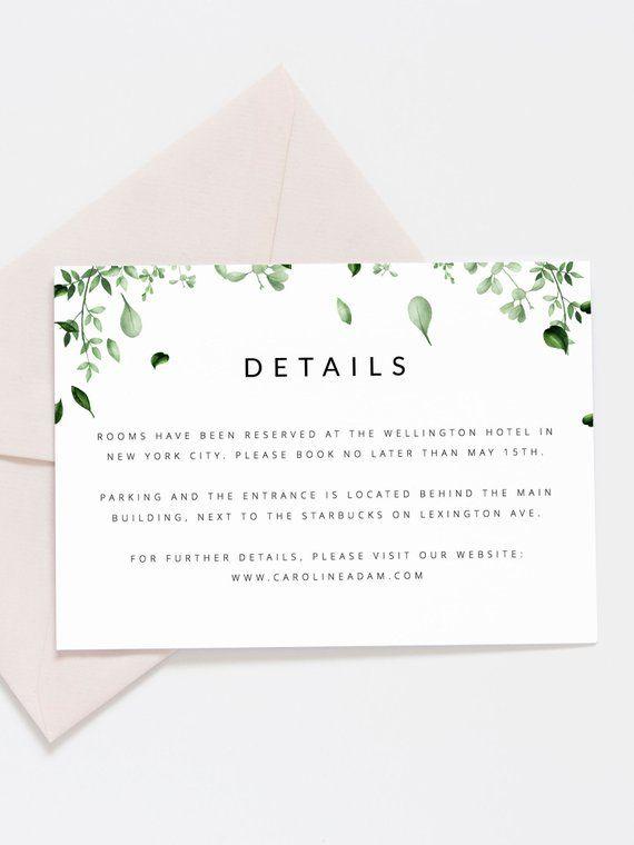 Greenery Wedding Details Card Template Green Leaf Wedding Etsy Wedding Details Card Diy Wedding Templates Wedding Invitations Printable Templates