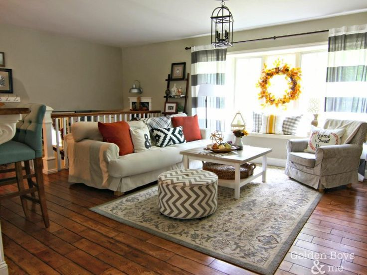 Fall Decor In Living Room With Ikea Hack Plank Coffee Table And Striped  Drapes Www. Part 68