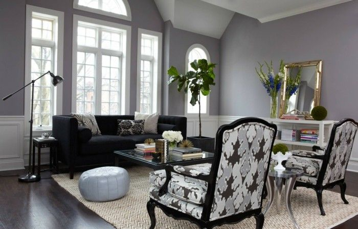 wohnzimmer grau hellgraue wände heller teppich dunkler bodenbelag