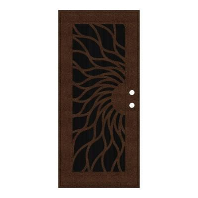 Unique Home Designs 36 in. x 80 in. Sunfire Copperclad Right-Hand Outswing Surface Mount Aluminum Security Door with Charcoal Insect Screen-1S2001EL1CCISA - The Home Depot