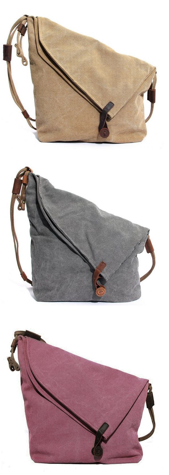 US$38.65 Women Vintage Messenger Bag Genuine Leather Canvas Crossbody Bag Tribal Rucksack