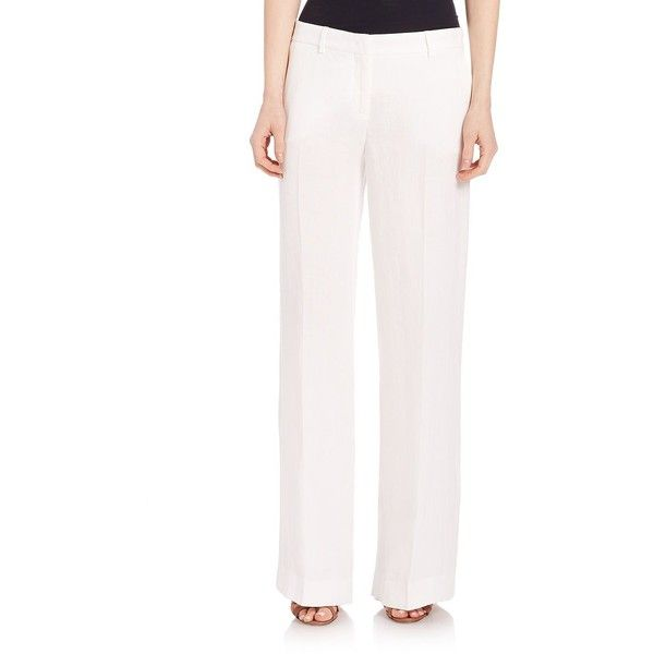 Weekend Max Mara Wide-Leg Linen Pants ($285) ❤ liked on Polyvore featuring pants, apparel & accessories, white, linen pants, wide leg linen trousers, white pants, wide-leg pants and white linen trousers