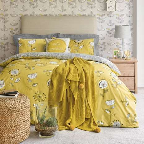 elements sunflower yellow duvet cover and pillowcase set