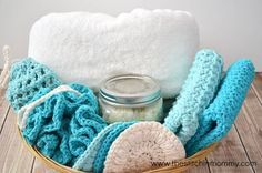 Love the practicality of these free patterns. Combine the Crochet mitts and scrubbies with DIY bath and body recipes to create a luxurious home made gift basket. Free Spa Day Crochet Patterns.