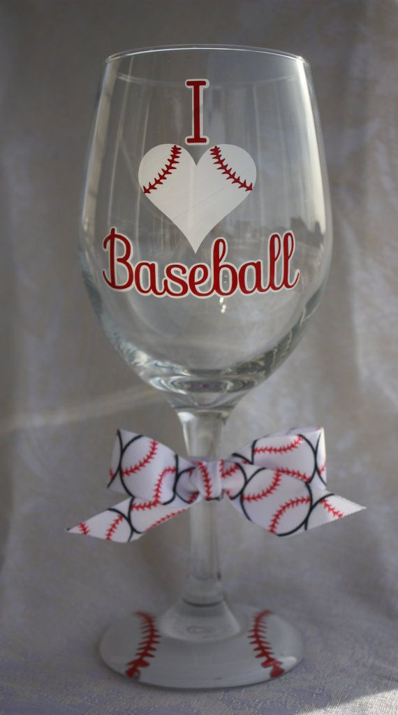 I Love Baseball Extra Large Wine Glass for the by TheVinylChick