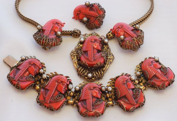 Rare Selro Red Egyptian Pharaoh Necklace by EmbellishgirlVintage, $2295.00