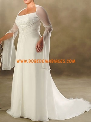 Robe de mariée grande taille longue manche mousseline sur mesure