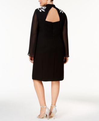 Sl Fashions Plus Size Sheer-Sleeve Embroidered Sheath Dress - Black 24W