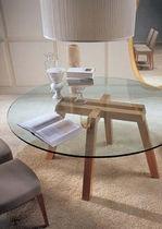 mesa redonda moderna de vidrio KOKI by W. Mandelli & W. Selva Porada