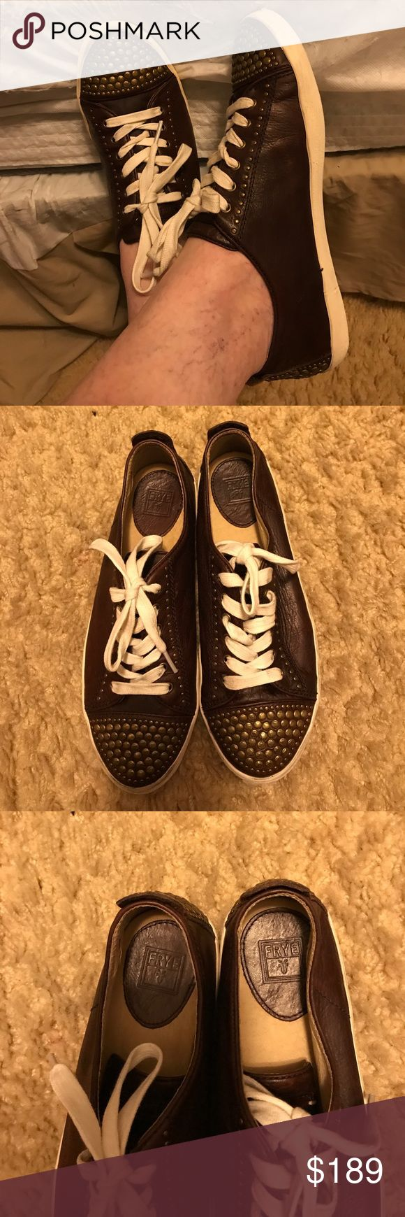 Frye Kira Stud Sneakers Tenny Shoe👟👟 Frye Kira Studded Sneakers Tenny Shoe👟👟 They are used but very very comfortable they L👀 K Amazing in great condition. I Love the feel leather in and out of the shoe it's amazing frye makes the best shoes and purses!!! Comes from a non-smoking home pet free. I ship Monday Wednesday Friday. Frye Shoes Sneakers