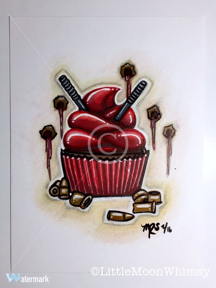 Dead Pool cupcake illustration   -A personal favorite from my Etsy shop https://www.etsy.com/listing/286631561/dead-pool-cupcake-illustration-art-print