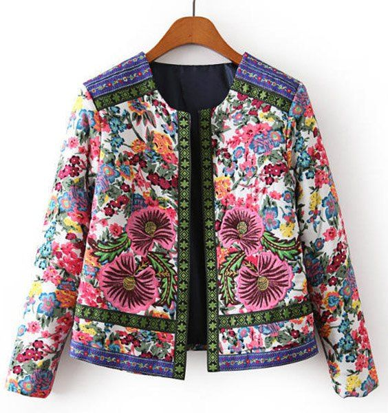 Retro Jewel Neck Long Sleeve Flower Embroidery Padded Coat For Women