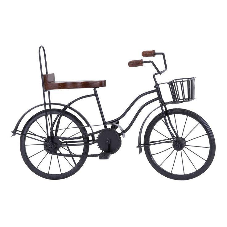 DecMode Wood and Metal Banana Seat Bicycle Sculpture - 46647