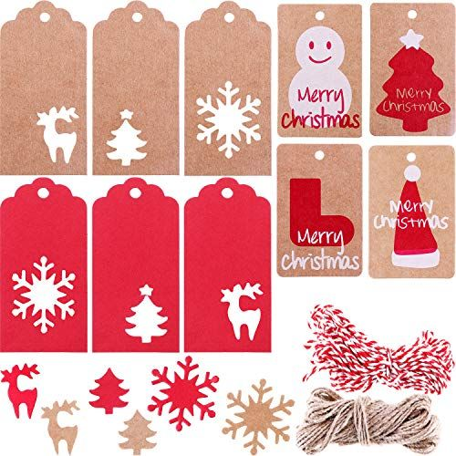 10 Kraft Christmas Gift Tags With Festive String