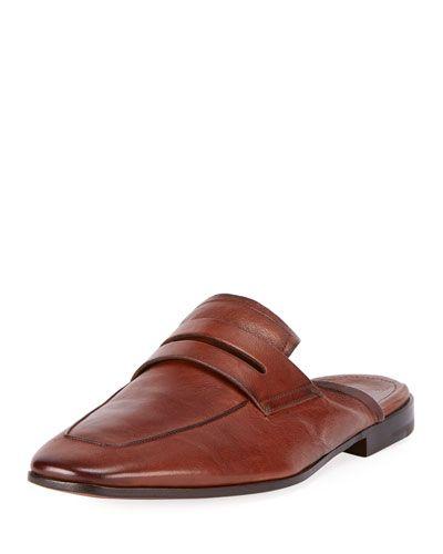 BERLUTI KANGAROO LEATHER SLIP-ON LOAFER MULE. #berluti #shoes #