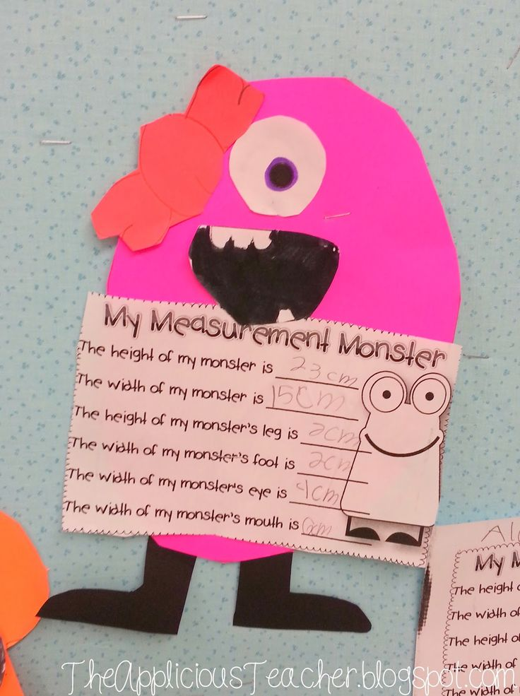 Monster Mash Measurement! Each kiddo chose their choice of colored paper. I provided the eyes, legs, and mouths and had them make a monster. Then, they measured the various body parts. In years past I gave the students the body shapes, but I love how they turned out allowing them to make up the body. Here's a few of my favorites.