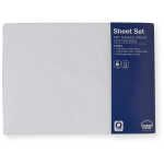 House & Home 250 TC Cotton Rich Queen Bed Sheet Set - White  Enjoy a clean, crisp look on your bed without the maintenance with the 250-Thread-Count minimum care sheet set. This soft and durable sheet has a cool percale weave. Made from a cotton blend that is soft, smooth and durable. This set includes one fitted sheet, one flat sheet and two pillowcases. The fitted sheet has a 40cm wall and with a fully elasticized fitted sheet that won't pop off in the middle of the night.    $ 49.00