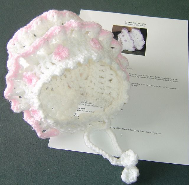 Crochet Baby Bonnet With Frills Front View By