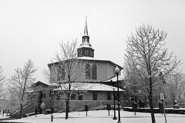 Snowy Providence College Campus, Rhode Island