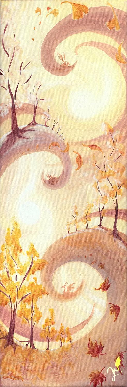 'Fantasieherbst' - Ein #Acryl Gemälde von Christina Busse | www.christinabusse.de | #Leinwand | 20x60cm | Entstehungsjahr 2011 | #Fantasy #Herbst