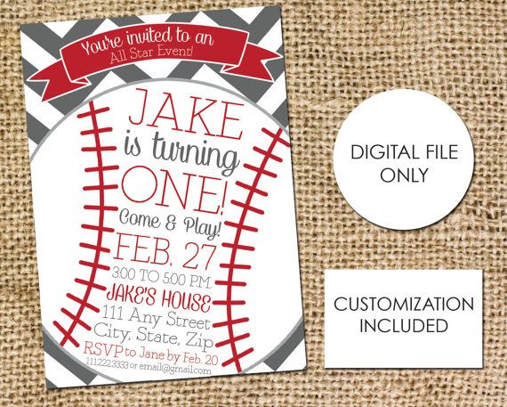 Baseball Birthday Invitation Childs Birthday by AestheticJourneys