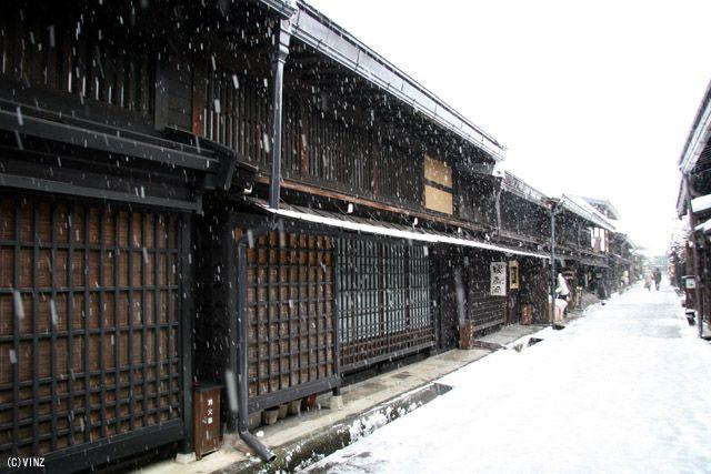 雪景色 冬 飛騨高山 古い町並み