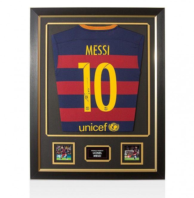 Framed Lionel Messi Hand Signed Barcelona Shirt - Home 2015/2016