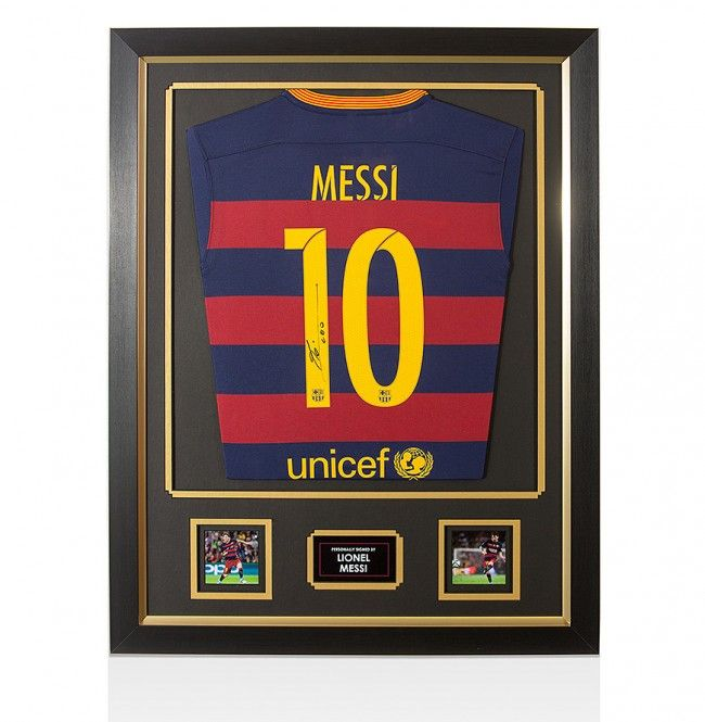 Framed Lionel Messi Hand Signed Barcelona Shirt - Home 2015/2016