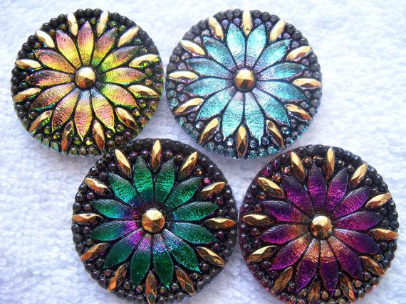 Czech Glass Buttons 4 pcs GORGEOUS with 24K gold 30mm IVA mix 977
