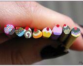 x7 Cane fimo millefiori gateaux cupcakes gourmandises kawaii 5cm : Pâtes polymères et accessoires par lilycherry