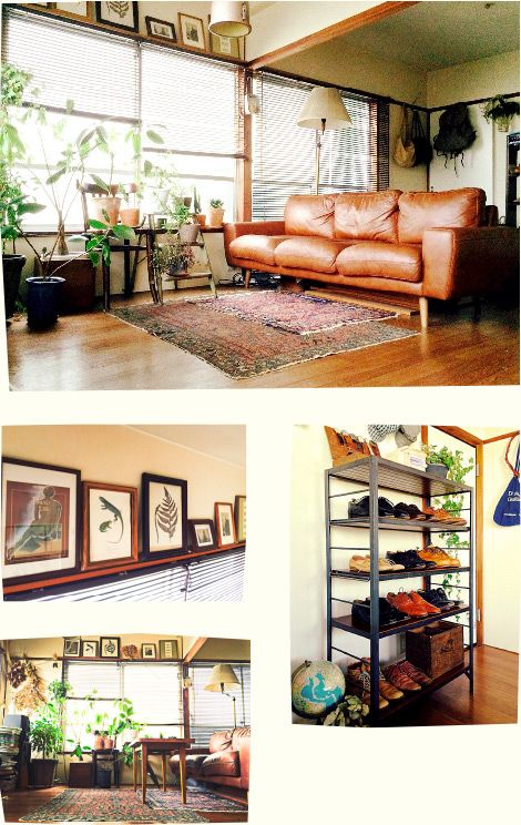 leather couch on hardwood & with greens