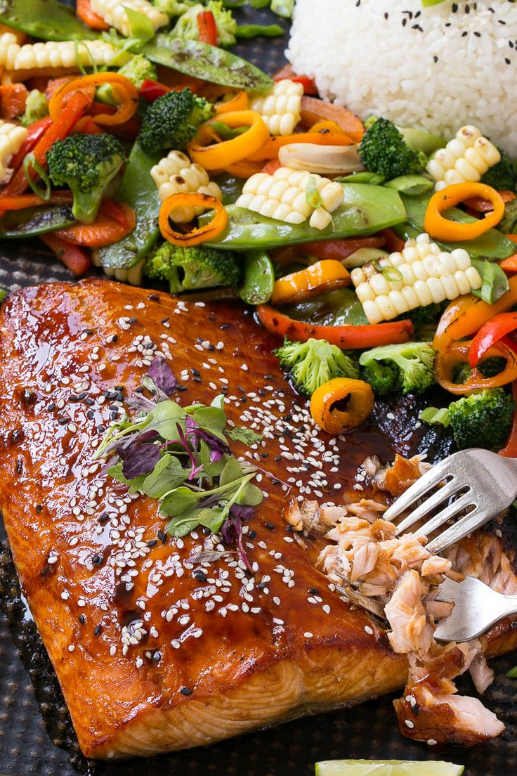 Hoisin Lime Glazed Salmon - The salmon and vegetables cook together on the same pan for a quick, healthy and easy dinner!