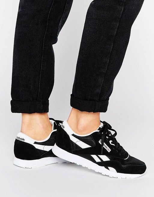 I had this pair back in the day! Reebok Classic Nylon Sneakers In Black And White