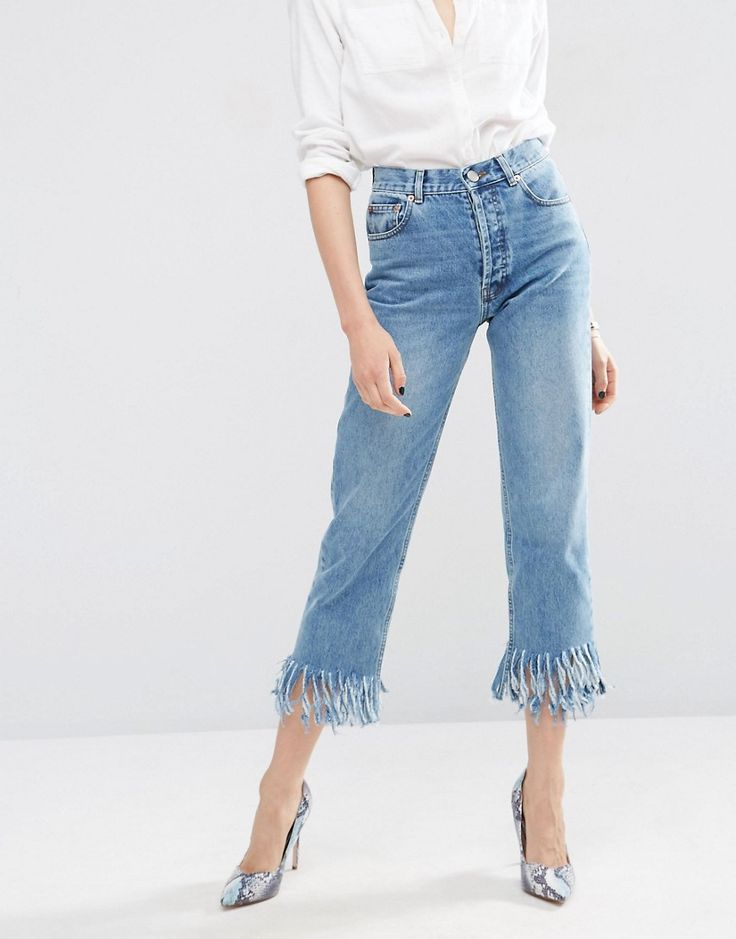 ASOS Authentic Straight Leg Jeans In Oxford Wash with Fringed Hem - Midwash  blue μόνο